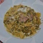 Pasta e Piselli con Uova e Pancetta