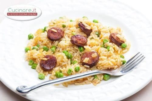 Risotto con piselli e salamino for Cucinare piselli